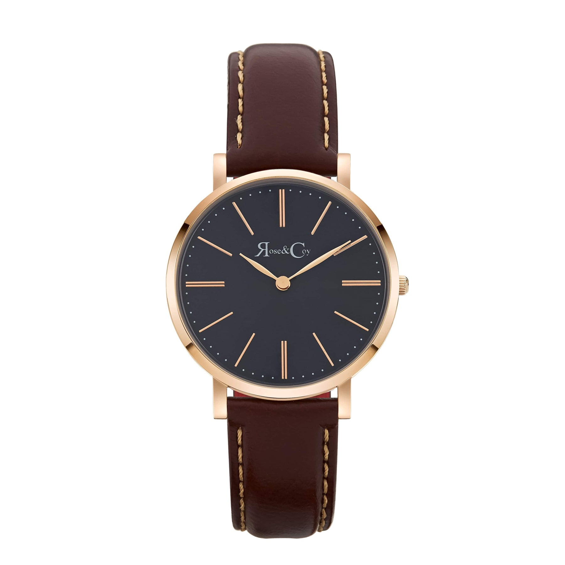 Mini Pinnacle Ultra Slim 34mm Rose Gold | Dark Brown | Blue Sunray Dial Watch