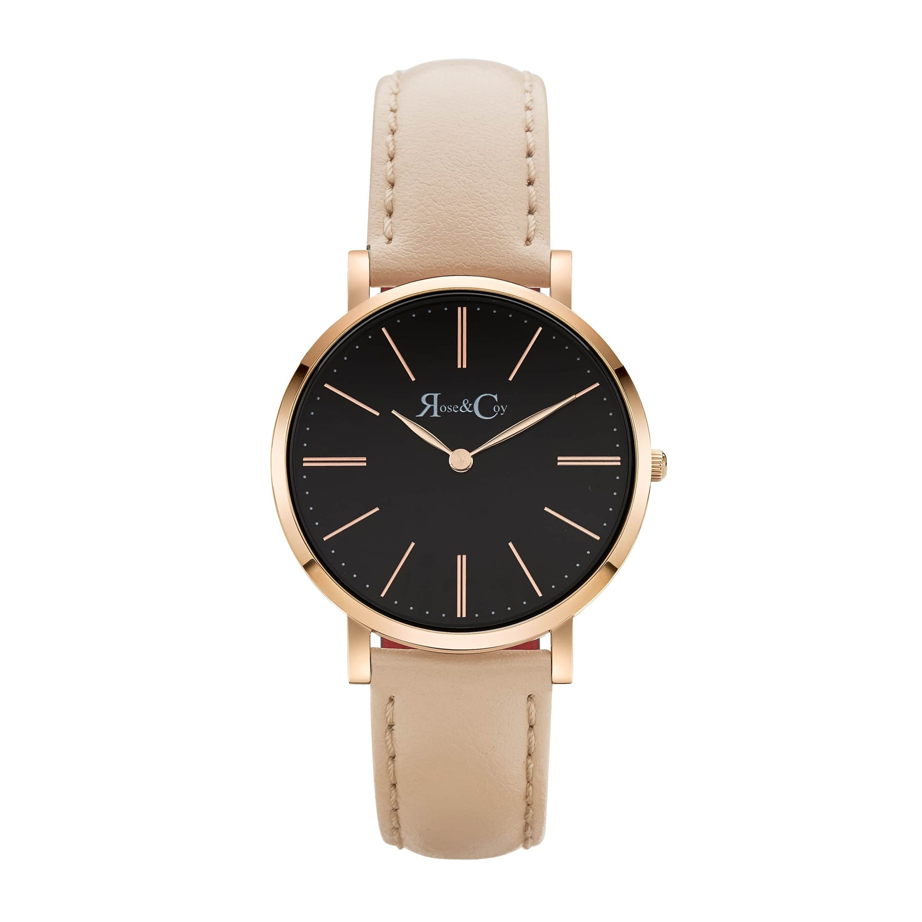 Mini Pinnacle Ultra Slim 34mm Black Dial | Peach Leather Watch