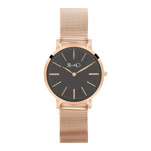 Mini Pinnacle Ultra Slim 34mm Rose Gold Black Dial | Mesh Strap Watch