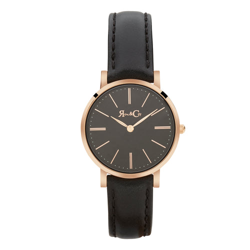 Petite Pinnacle Ultra Slim 30mm Rose Gold | Black Leather | Black Dial Watch