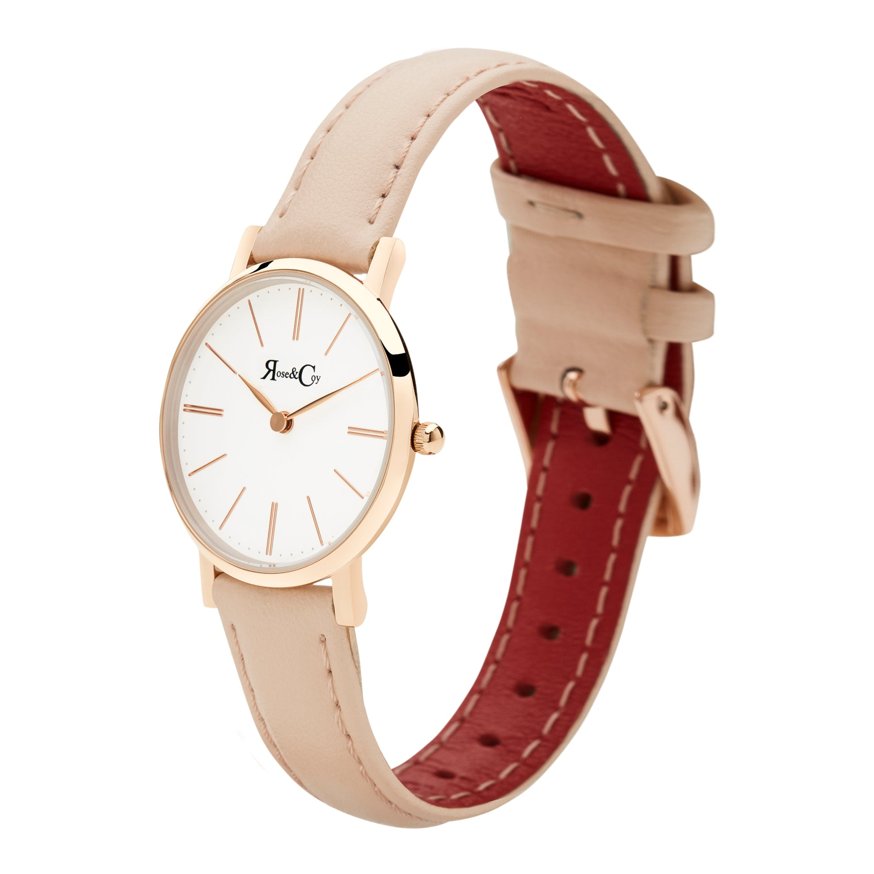 Petite Pinnacle Ultra Slim 30mm Rose Gold | Peach Leather Watch