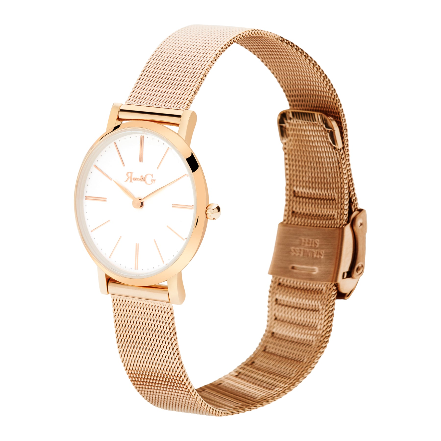 Petite Pinnacle Ultra Slim 30mm Rose Gold | Mesh Strap Watch