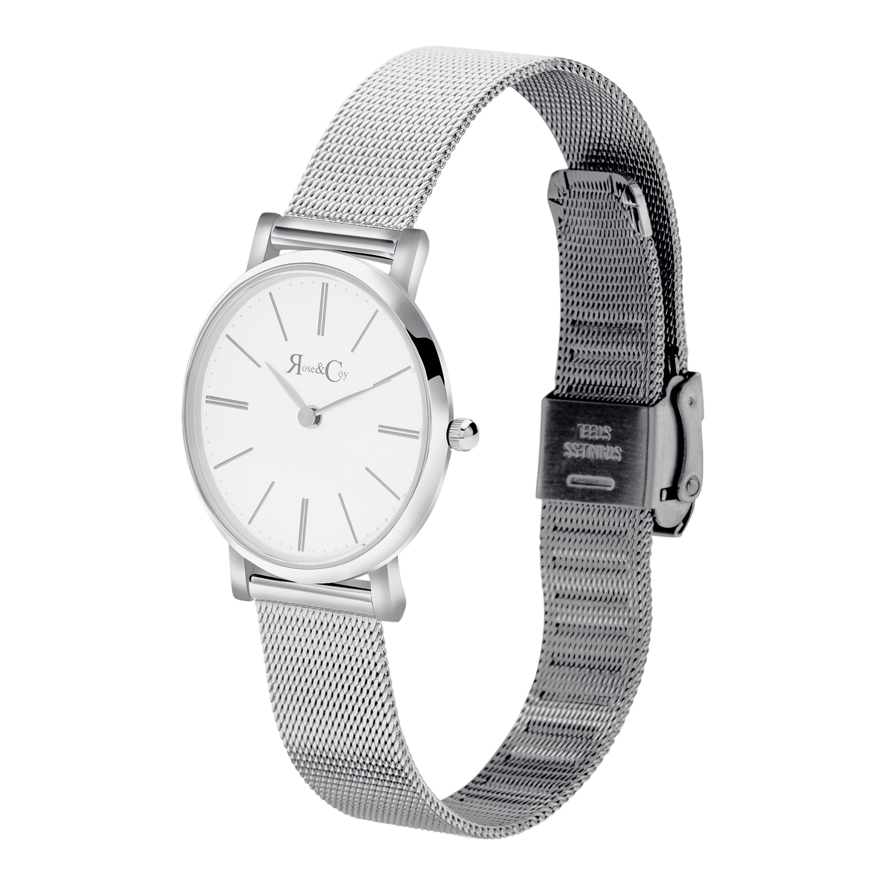 Petite Pinnacle Ultra Slim 30mm Silver | Mesh Strap Watch