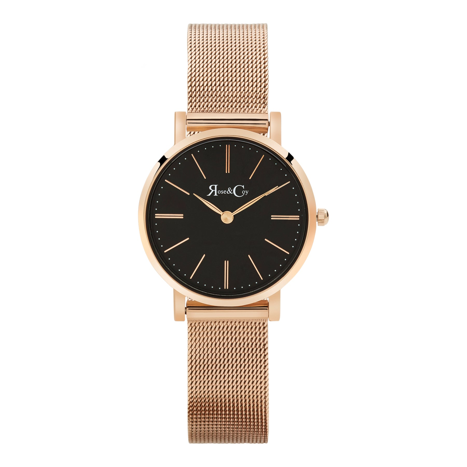 Petite Pinnacle Ultra Slim 30mm Rose Gold Black Dial | Mesh Strap Watch