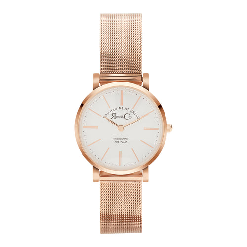 You had me at hello 30mm Rose Gold | Mesh Strap Watch