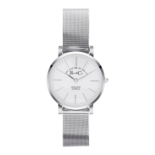 You had me at hello 30mm Silver | Mesh Strap Watch