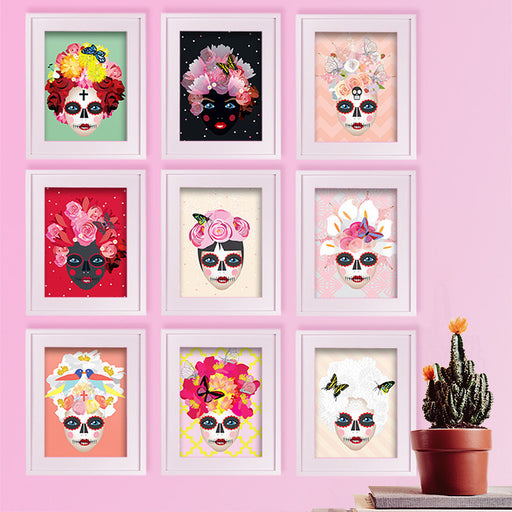 All 9 of the 'Day of the dead' inspired girl illustration art prints