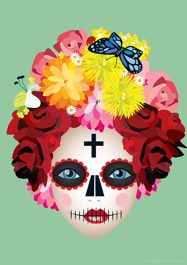 'Lady Rose' A3 'Day of The Dead' inspired art print