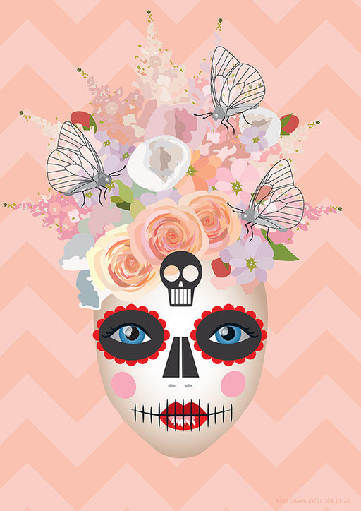 Peaches and Cream A3 'Day of The Dead' inspired art print