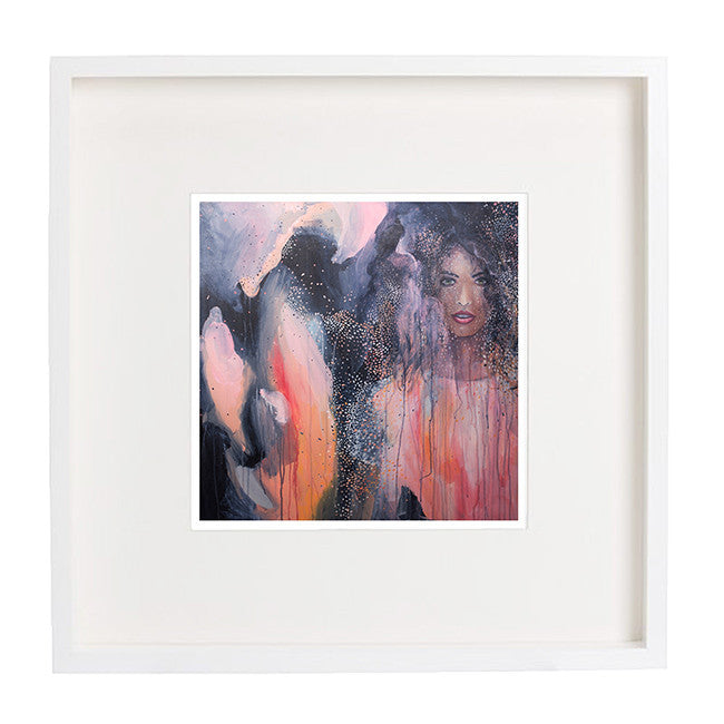 'Ava' A3 art print of Shannon O'Neills original acrylic painting with a white border framed
