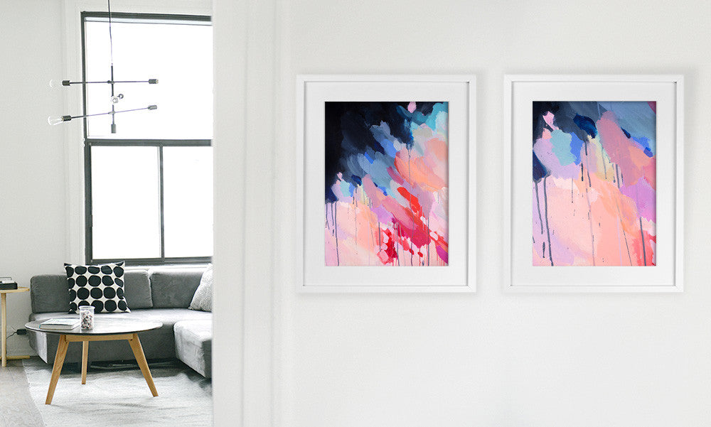 Shannon O'Neill Contemporary Australian Artist - modern abstract painting- A3 framed art print - 'Pastel Storm' on the right and 'Evie' on the left'