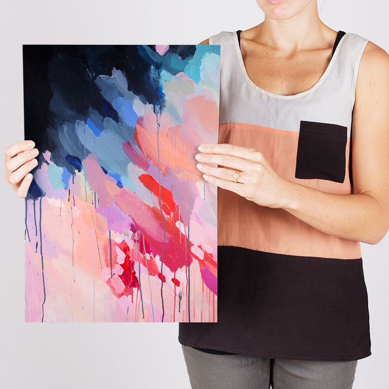 Shannon O'Neill Contemporary Australian Artist - bright colourful modern abstract painting- A3 art print - Evie