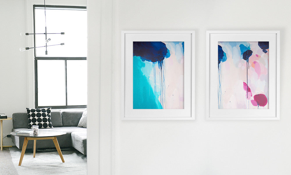 Shannon O'Neill Contemporary Australian Artist - modern abstract painting- A3 framed art print - hallway