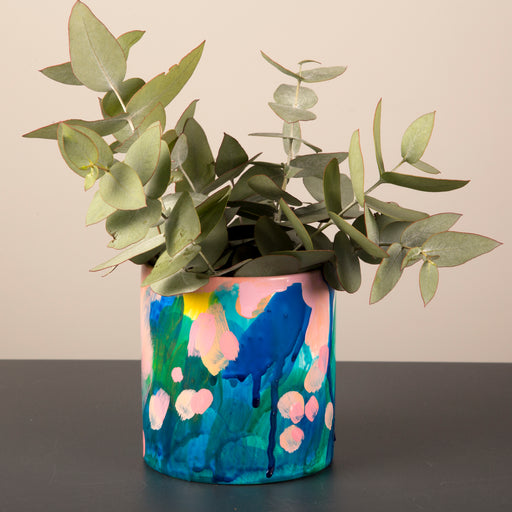 Hand painted ceramic vase + pot medium