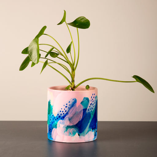Hand painted ceramic vase + pot large