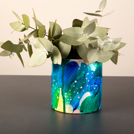 Hand painted ceramic vase + pot small