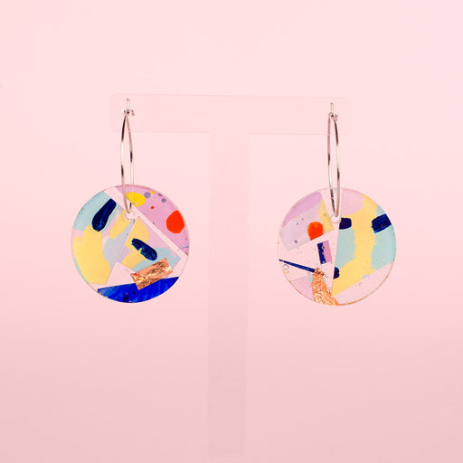 Terrazzo hoop gloss art earrings