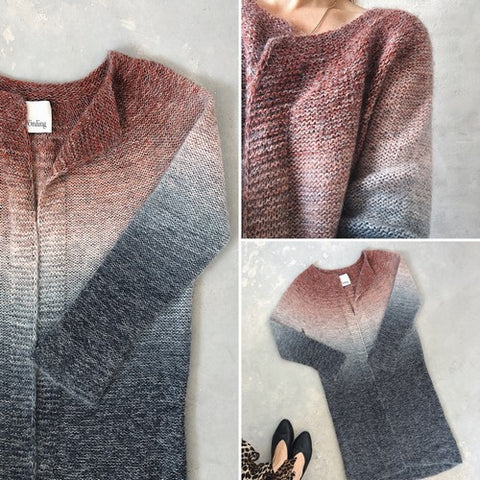 Aud cardigan knitted in Isager Spinni and Silk Mohair, designed by Katrine Hannibal for Önling
