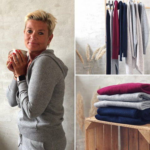 Cashmere set from Önling, hoodie, turtleneck and pants in 100% cashmere.