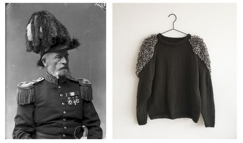 Kostume jumper from Spektakelstrik with inspirational picture of old uniform