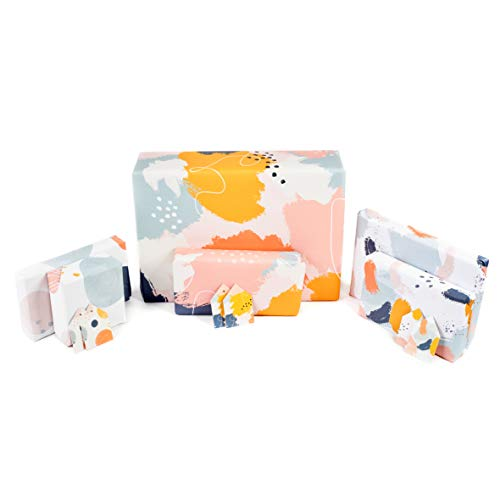 Central 23 - Wrapping Paper - Multipack 6 Sheets of Gift Wrap with Tags - Pastel Pink and Blue - For Men and Women - Recyclable