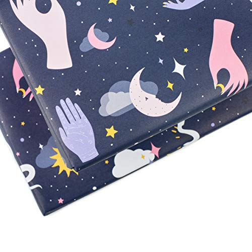 Central 23 - Navy Wrapping Paper - Astrology Gift Wrap for Women - Pink and Blue - for Girls Teenagers Friends - Recyclable
