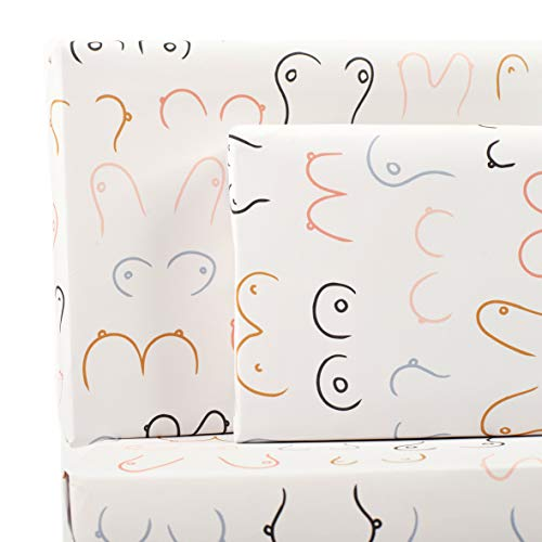 Central 23 - Wrapping Paper for Women - 6 Sheets of Fun GiftWrap - Rude Boob Print - Pastel Pink Faces - Birthday Gift Wrap - Recyclable