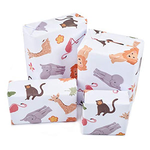 Central 23-6 Wrapping Paper Sheets - Jungle Animals - for Boys and Girls New Baby - 1st 2nd 3rd Birthday - Cute Gift Wrap - Recyclable