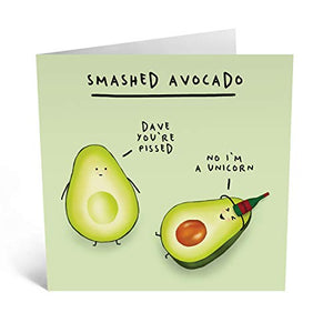 Central 23 - Funny Birthday Card for Him - Cute Birthday Card for Her - 'Smashed Avocado' - Pun Card – Hilarious Design – Comes with Fun Stickers
