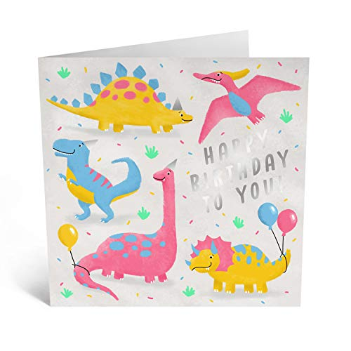 Central 23 - Dinosaur Birthday Card - for Boys or Girls - Pink and Blue Balloons - Comes with Fun Stickers