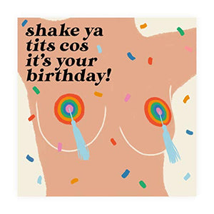 Central 23 - Funny Birthday Card for Her - 'Shake Your Tits' - Happy Birthday Card for Friends Women Sister Wife - Comes with Fun Stickers