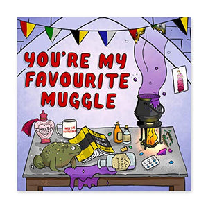 Central 23 – Funny Valentine's Day Card - for Husband or Wife - 'Favourite Muggle' - Harry Potter Joke - Comes with Fun Stickers