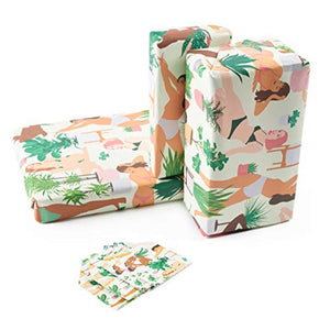 Central 23-6 Wrapping Paper Sheets - Plant Ladies - Green and Pink GiftWrap for Women - Birthday Gift Wrap for Her - Adults and Teenagers - Recyclable