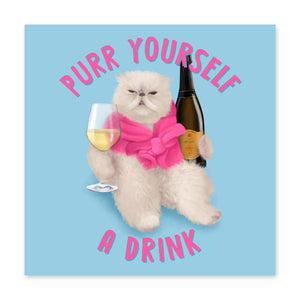Purr Yourself a Drink Birthday Card - US