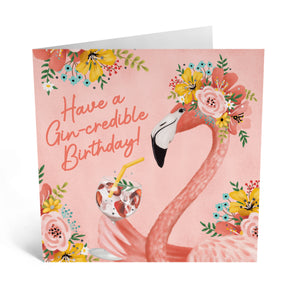 Gincredible Birthday Flamingo Card - US