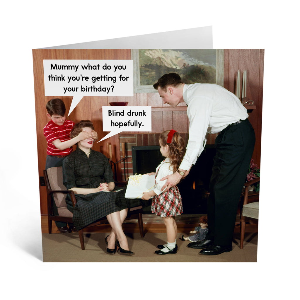 Blind Drunk Retro Birthday Card - US