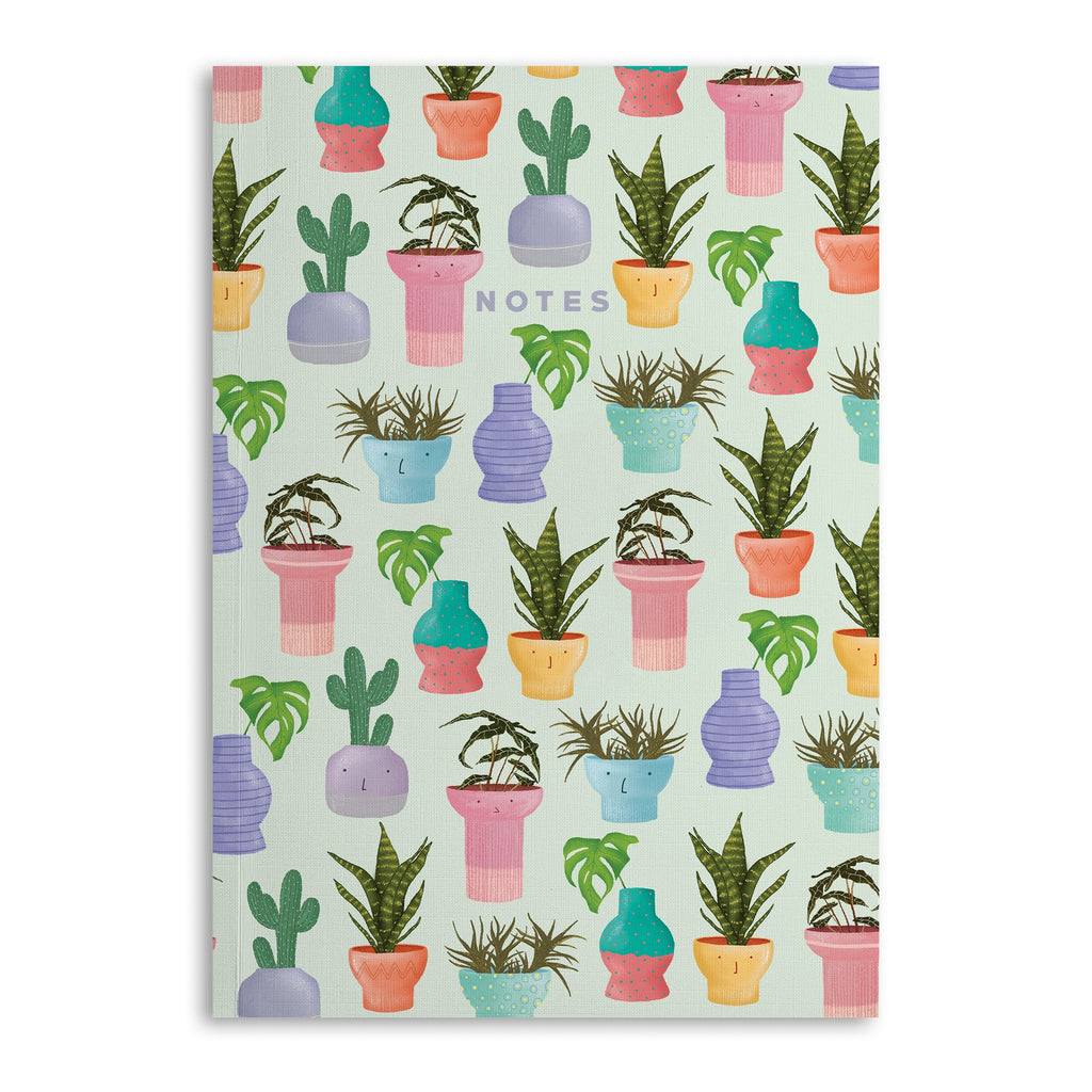 Potted Plants Lined A5 Notebook - US