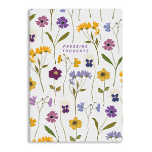 Pressing Thoughts Flowers A5 Lined Notebook (80 Pages)