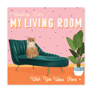 Greetings From My Living Room Birthday Card - US