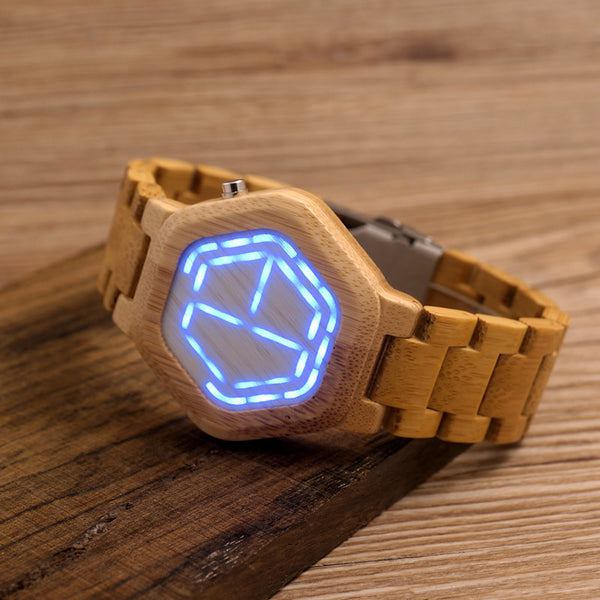 LED Digital Wood Watch  with Unique LED Date Day
