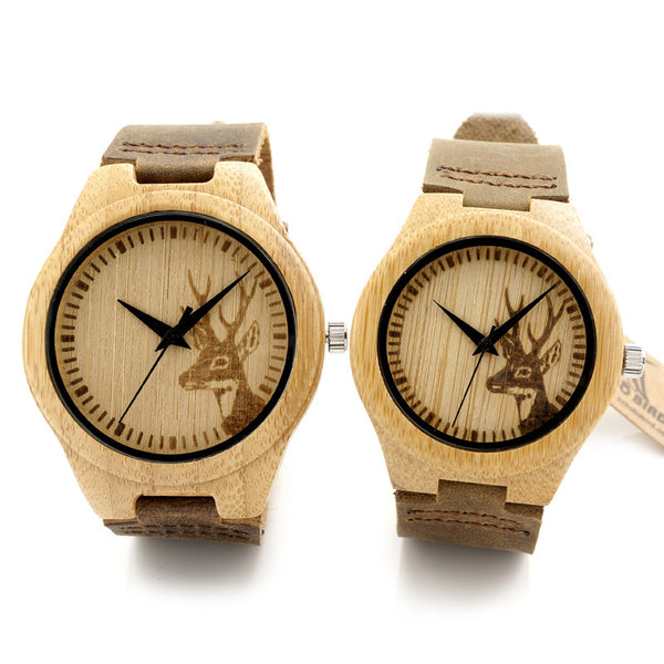 Deer Hunter Design, Men Women's Wooden Watch With Brown Leather Strap