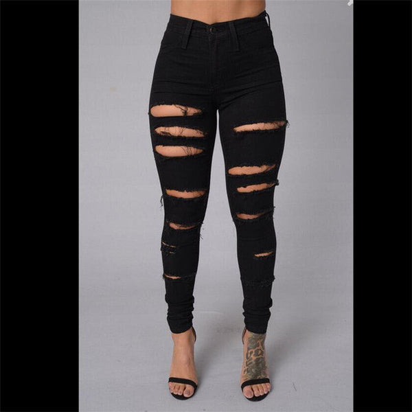 Women's 4 Pockets Bleach Ripped Skinny Jeans