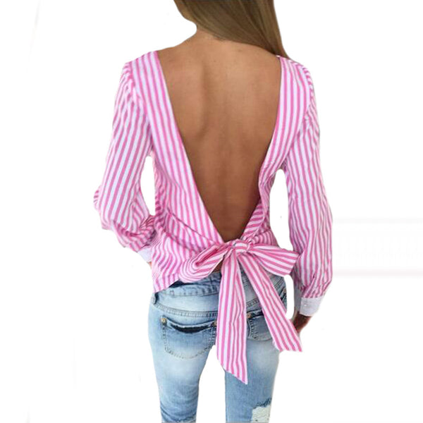Striped Sexy Bowknot Backless Shirt