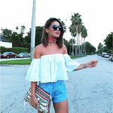 Butterfly sleeve off the shoulder crop top