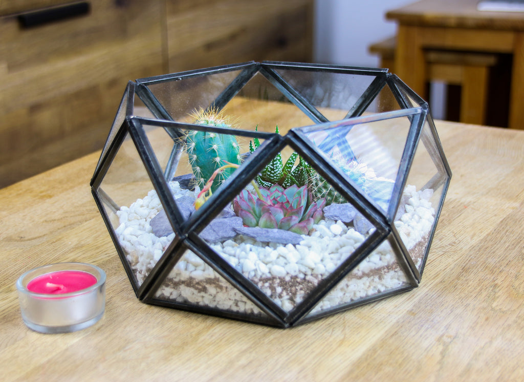 Terrarium kit, brass table top geometric design