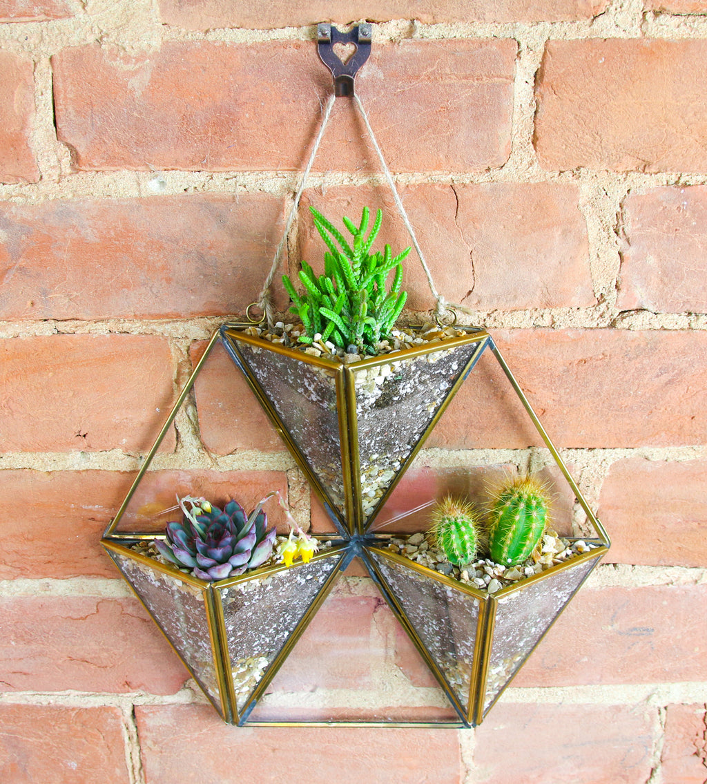 Geometric wall hanging brass planter
