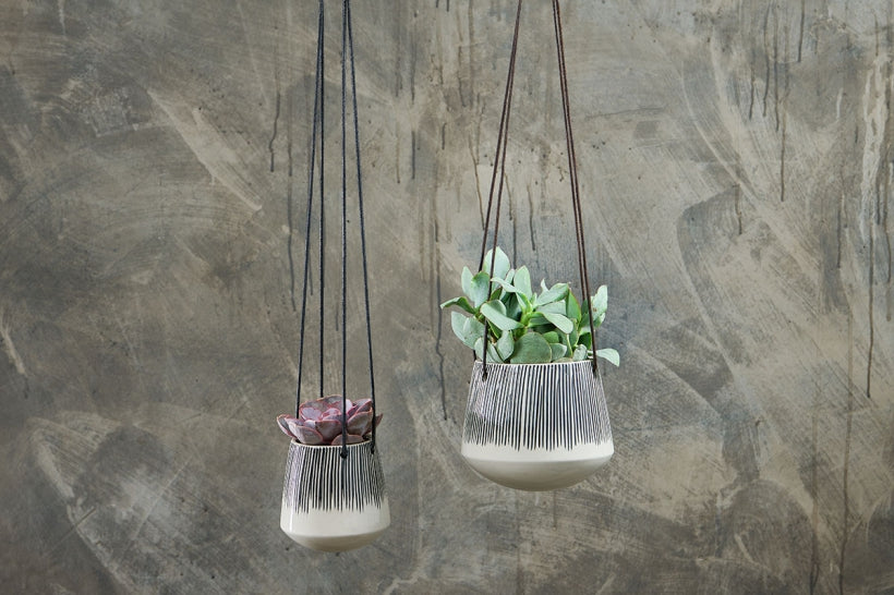 Indoor hanging planters with cord tie