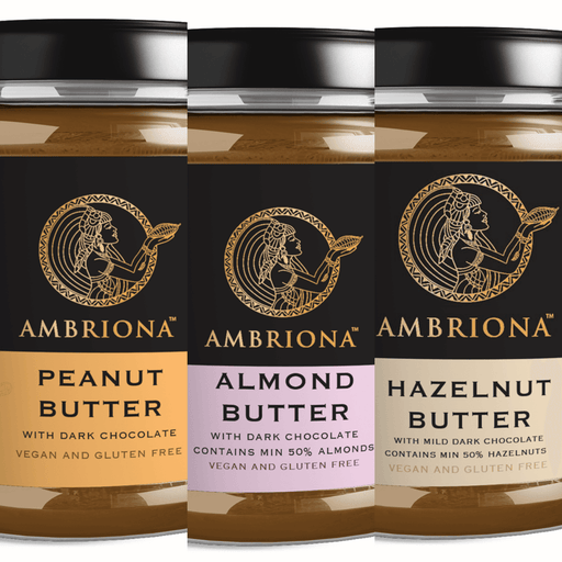 Trio Nut Butter Combo (Ambriona Butter - Hazelnut, Peanut & Almond with 45% Dark Chocolate)