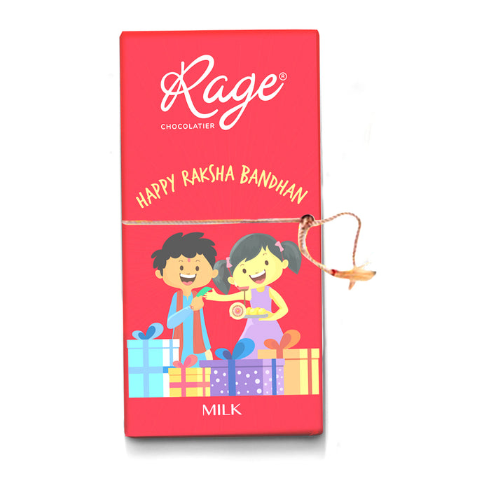 Happy Raksha Bandhan Milk Chocolate Bar (With Rakhi & Card)