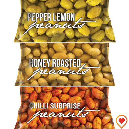 AVEAN Flavored Peanuts (Chilli Surprise, Lemon Pepper, Honey Roasted Peanuts)